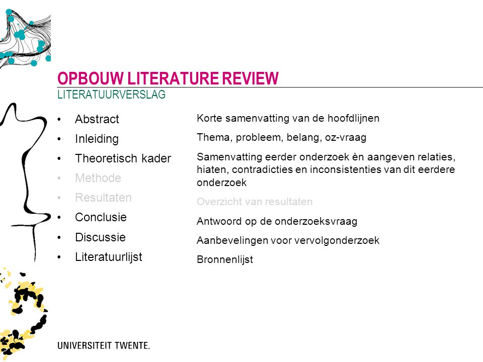 Opbouw literature review