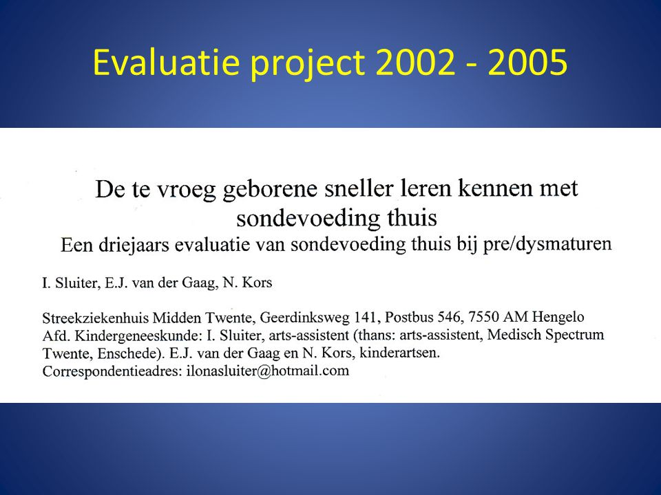 Evaluatie project 2002 - 2005