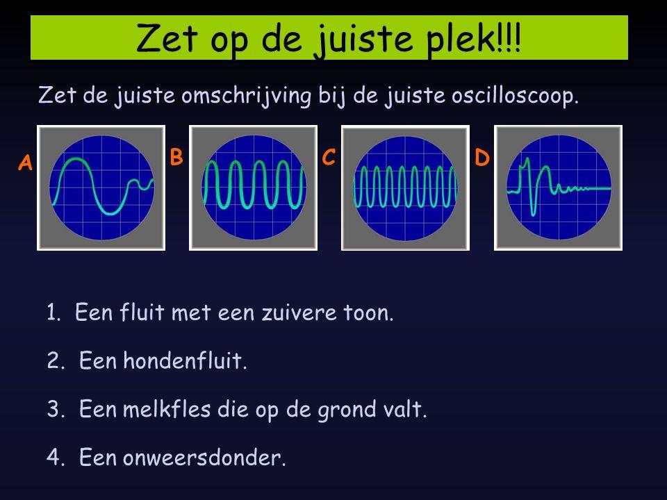 Zet op de juiste plek!!! Zet de juiste omschrijving bij de juiste oscilloscoop. B. C. D. A. 1. Een fluit met een zuivere toon.