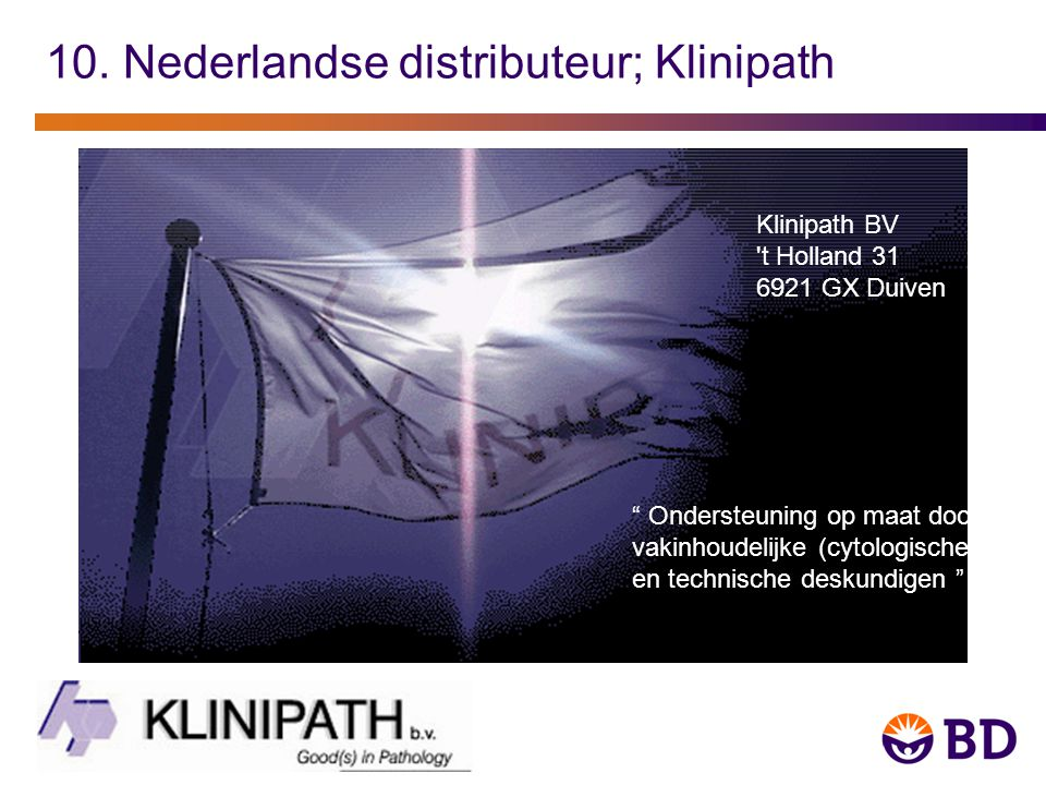 10. Nederlandse distributeur; Klinipath