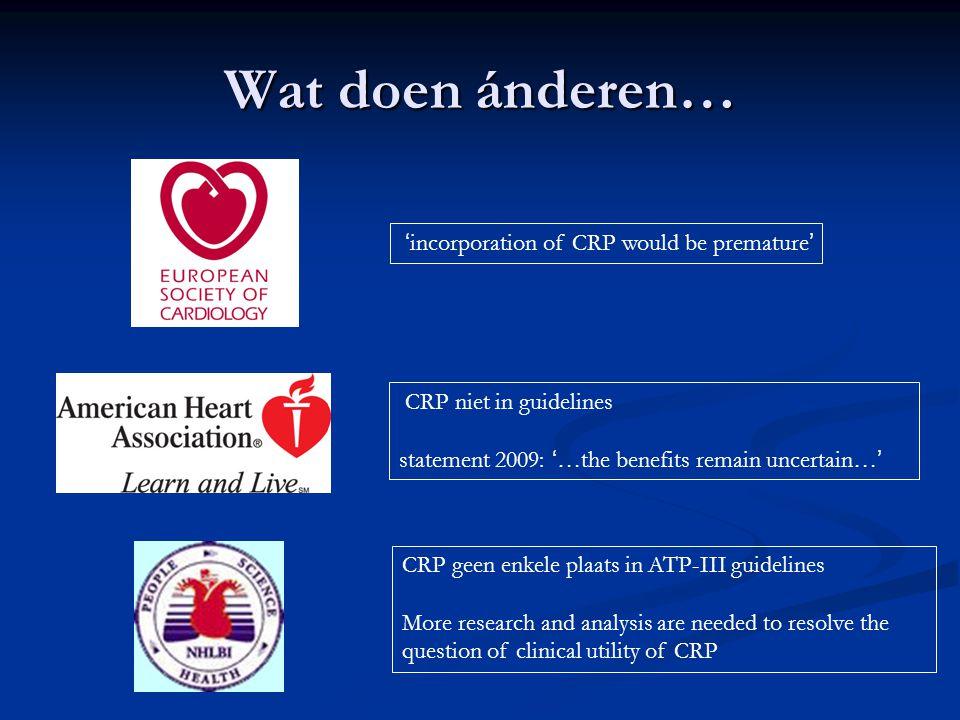 Wat doen ánderen… 'incorporation of CRP would be premature'