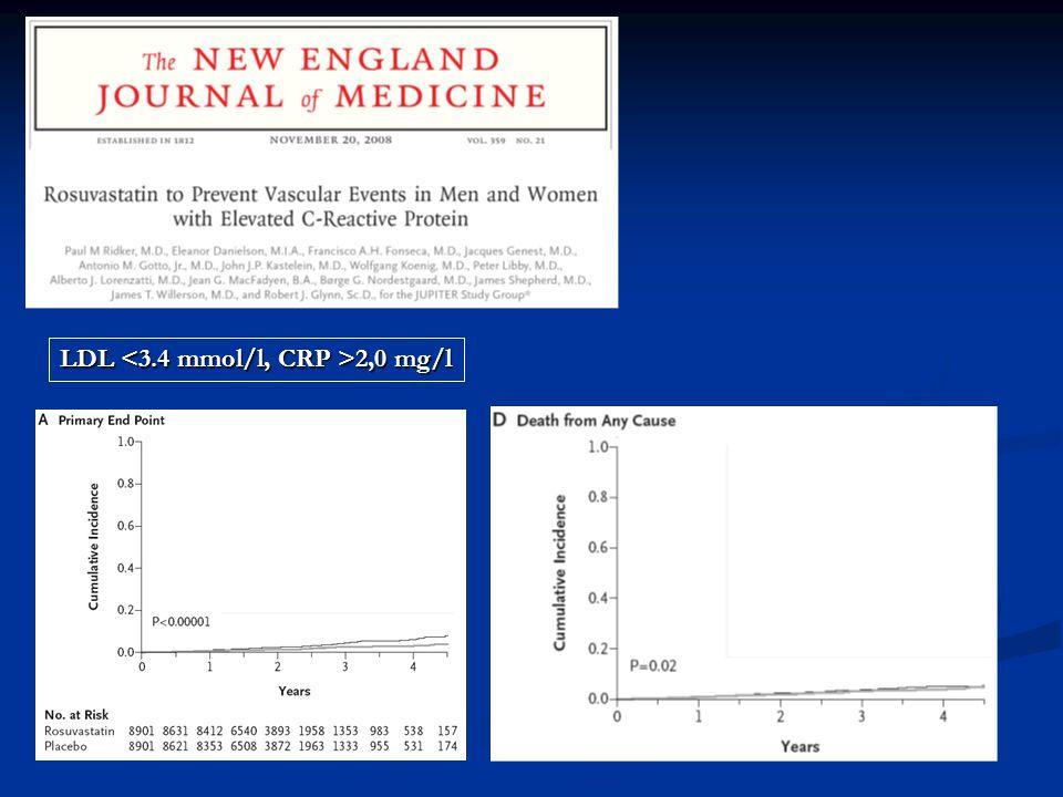LDL <3.4 mmol/l, CRP >2,0 mg/l