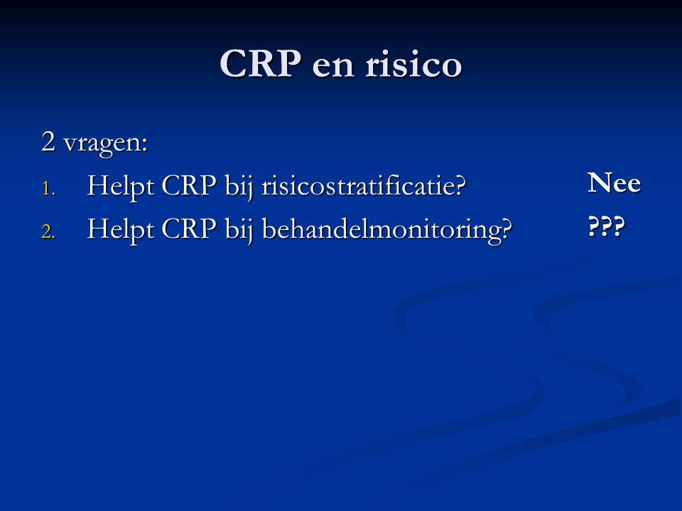 CRP en risico 2 vragen: Helpt CRP bij risicostratificatie Nee