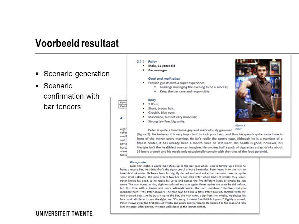 Voorbeeld resultaat Scenario generation