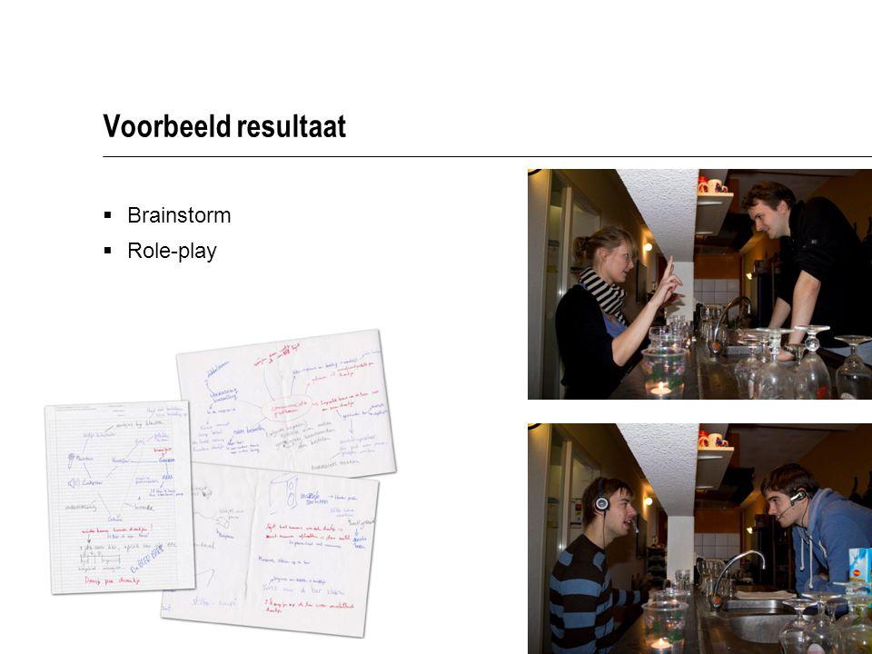 Voorbeeld resultaat Brainstorm Role-play