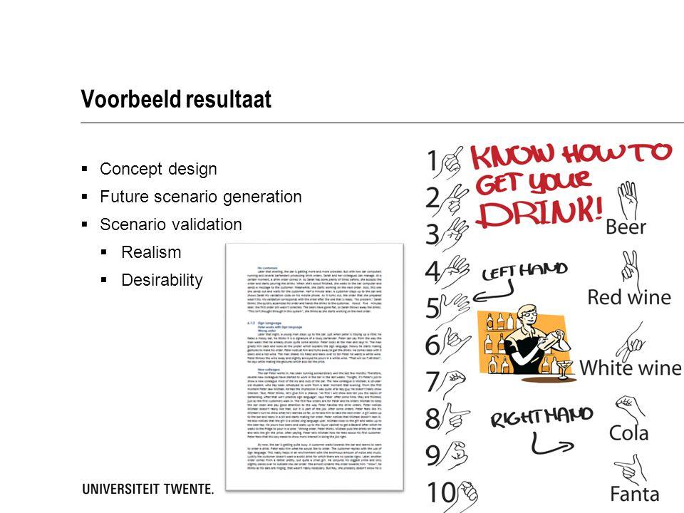 Voorbeeld resultaat Concept design Future scenario generation