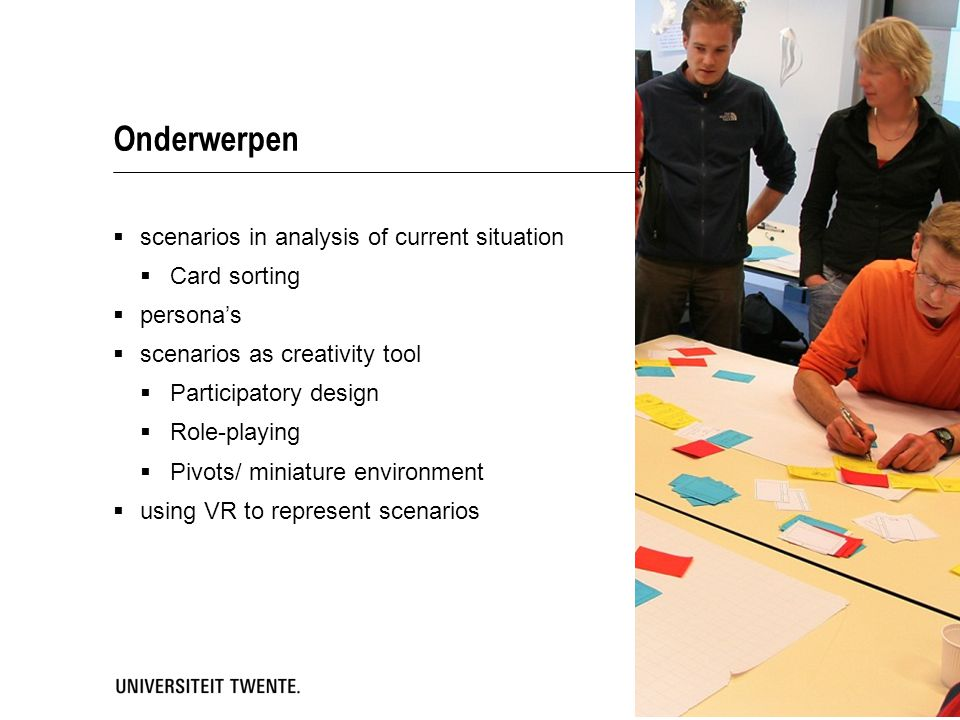 Onderwerpen scenarios in analysis of current situation Card sorting