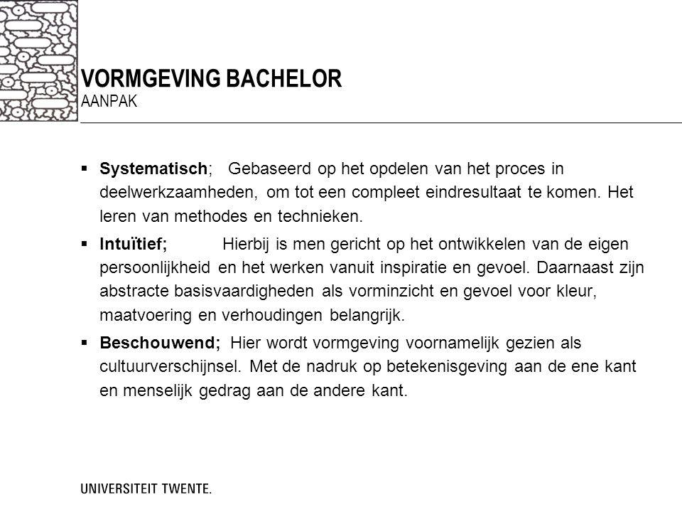 VORMGEVING bachelor aanpak