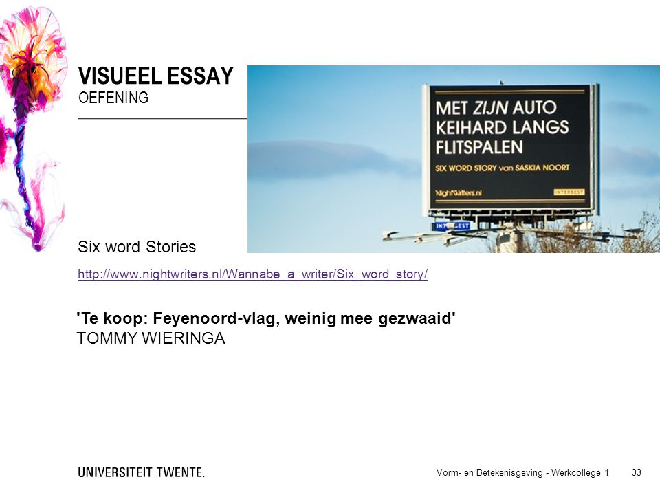 Visueel essay oefening Six word Stories