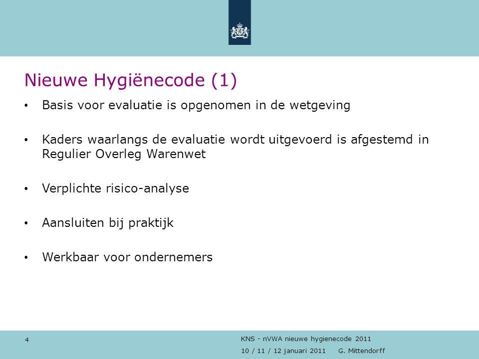 Nieuwe Hygiënecode (1) Basis voor evaluatie is opgenomen in de wetgeving.