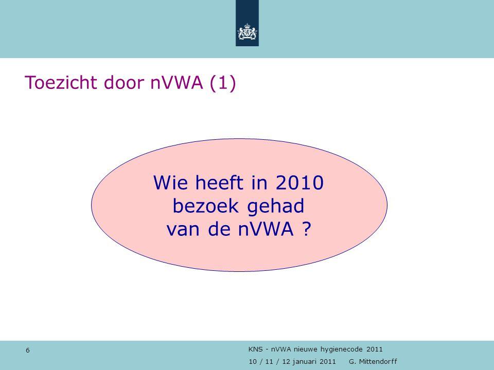 Wie heeft in 2010 bezoek gehad van de nVWA Toezicht door nVWA (1)