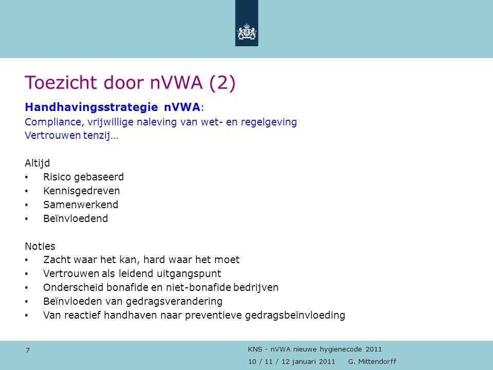 Toezicht door nVWA (2) Handhavingsstrategie nVWA: