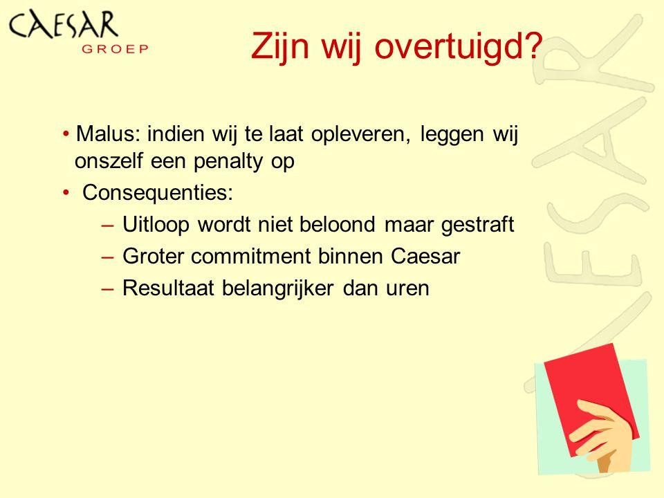 Zijn wij overtuigd Malus: indien wij te laat opleveren, leggen wij onszelf een penalty op. Consequenties: