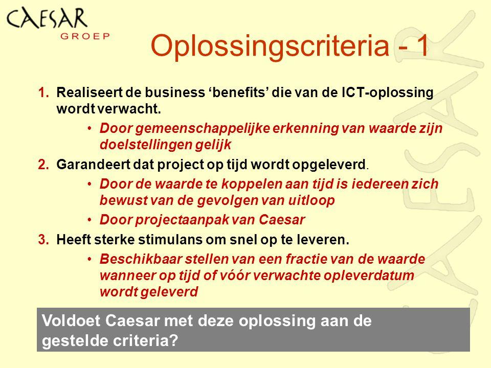 Oplossingscriteria - 1 Realiseert de business 'benefits' die van de ICT-oplossing wordt verwacht.
