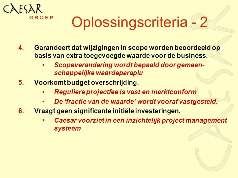 Oplossingscriteria - 2 4. Garandeert dat wijzigingen in scope worden beoordeeld op basis van extra toegevoegde waarde voor de business.