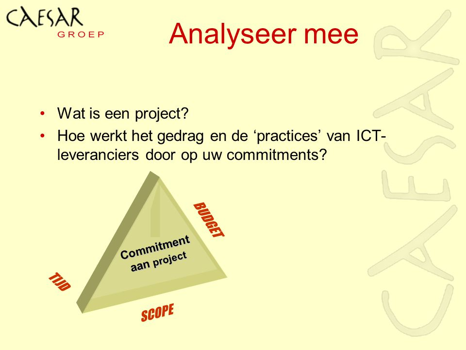 Analyseer mee Wat is een project