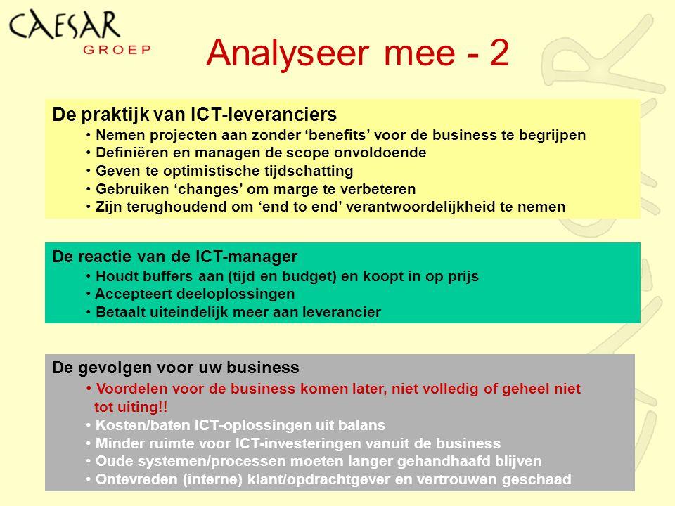 Analyseer mee - 2 De praktijk van ICT-leveranciers