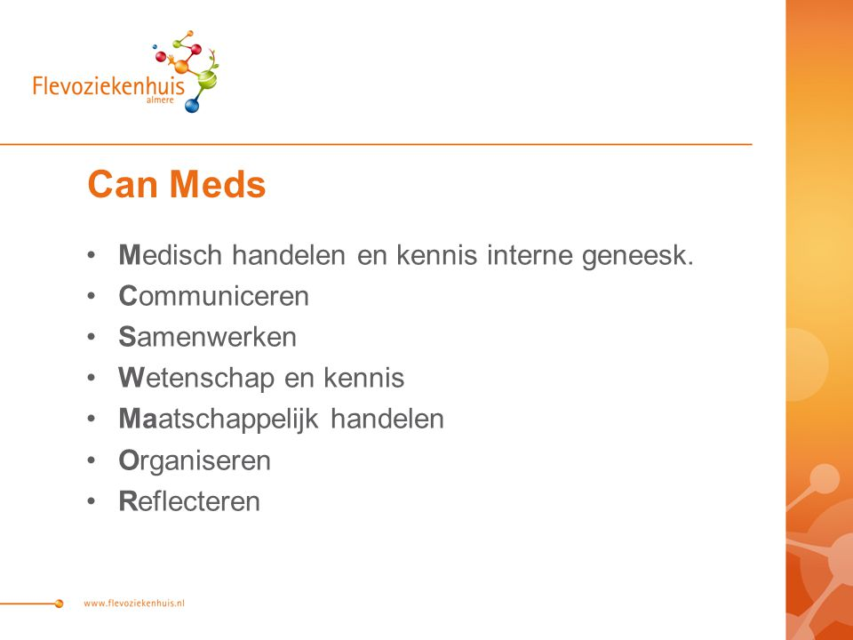 Can Meds Medisch handelen en kennis interne geneesk. Communiceren