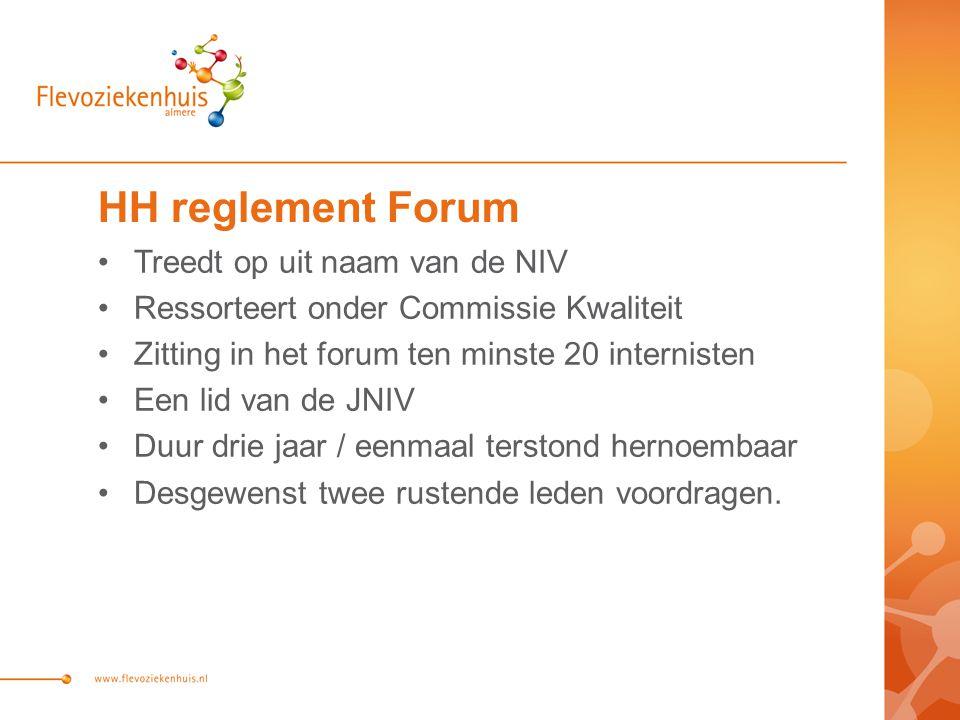 HH reglement Forum Treedt op uit naam van de NIV