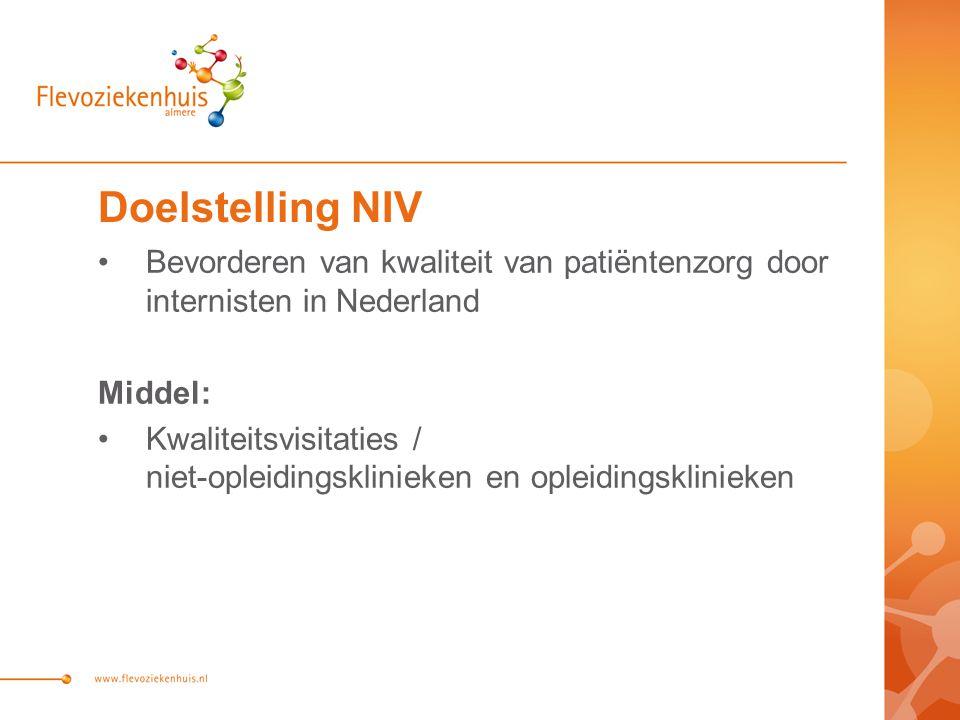 Doelstelling NIV Bevorderen van kwaliteit van patiëntenzorg door internisten in Nederland. Middel: