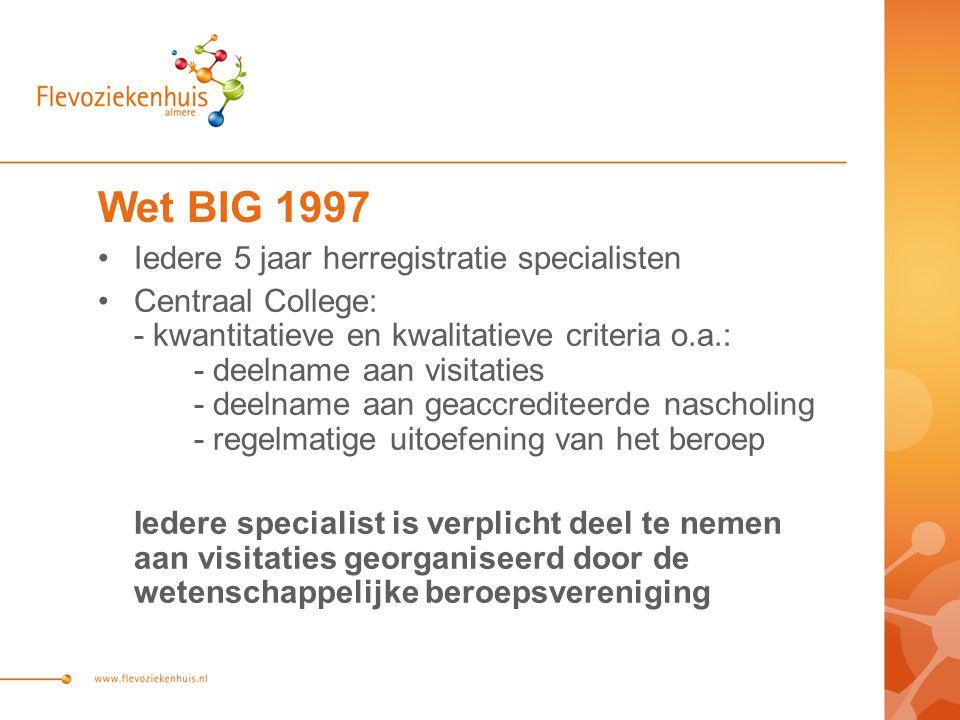 Wet BIG 1997 Iedere 5 jaar herregistratie specialisten