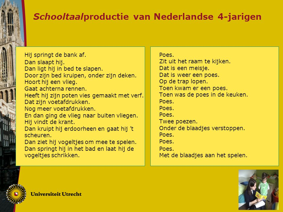 Schooltaalproductie van Nederlandse 4-jarigen