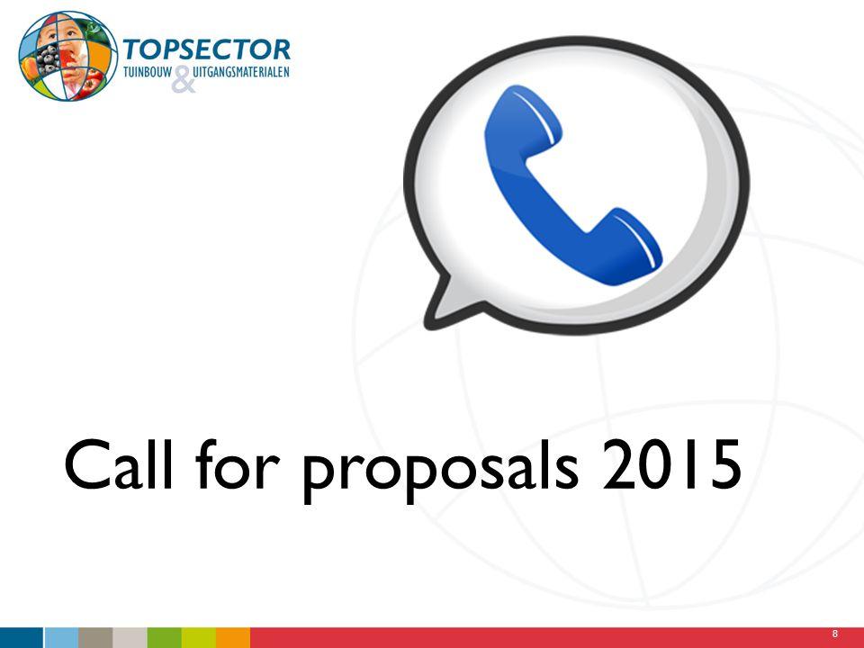 Call for proposals 2015 We staan nu aan het begin van een nieuwe call, die een paar weken geleden is uitgebracht.