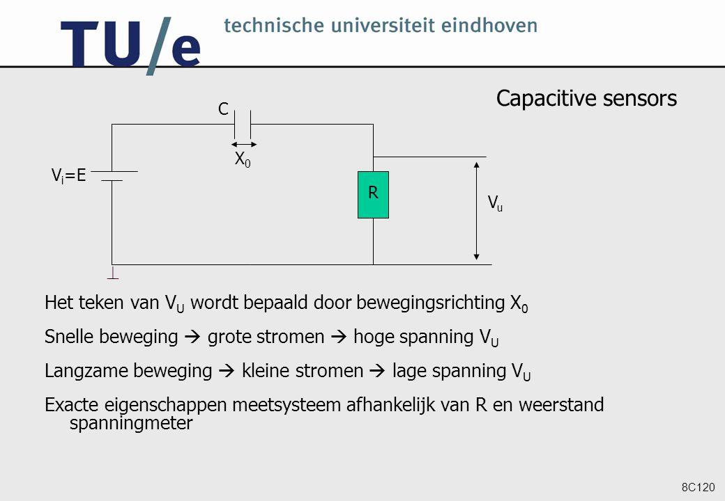 Neuroinformatics Capacitive sensors. Vi=E. C. R.  Vu. X0. Het teken van VU wordt bepaald door bewegingsrichting X0.