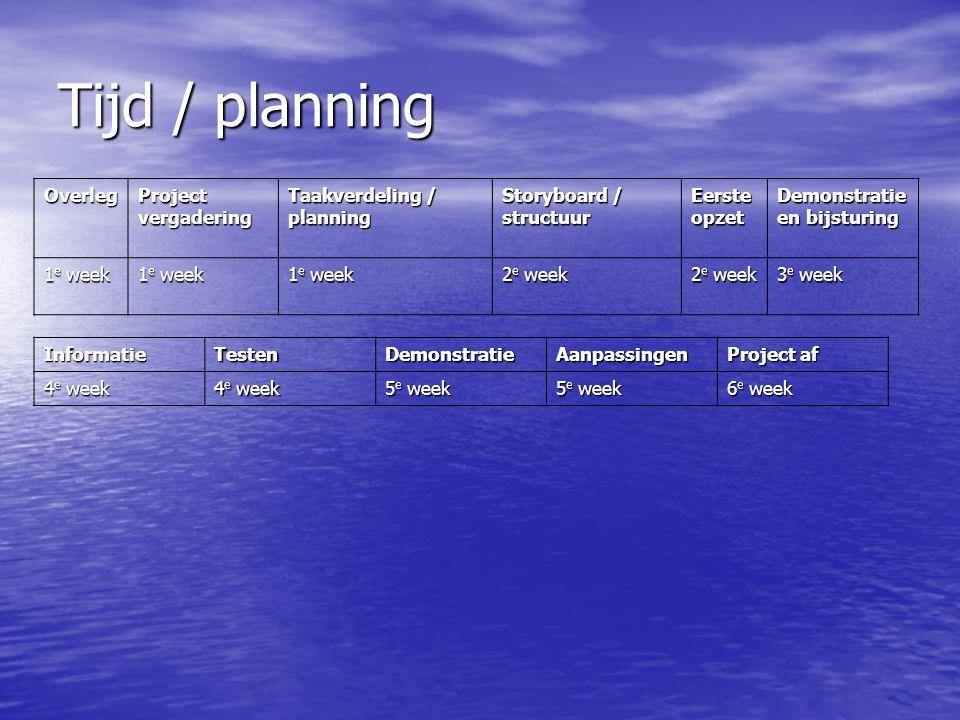 Tijd / planning Overleg Project vergadering Taakverdeling / planning