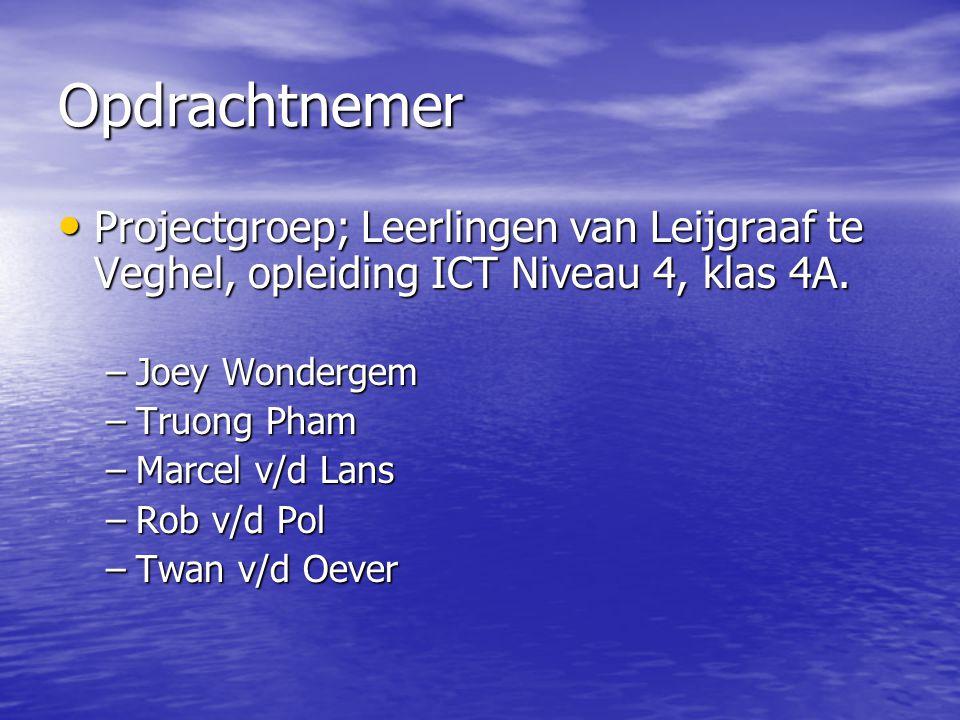 Opdrachtnemer Projectgroep; Leerlingen van Leijgraaf te Veghel, opleiding ICT Niveau 4, klas 4A. Joey Wondergem.