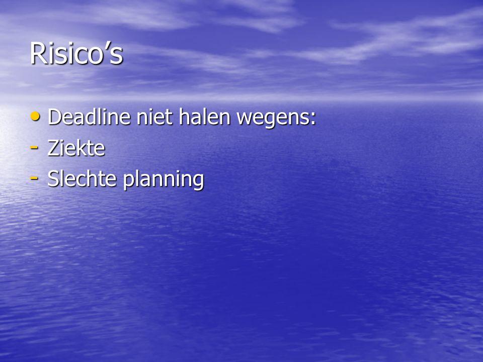 Risico's Deadline niet halen wegens: Ziekte Slechte planning