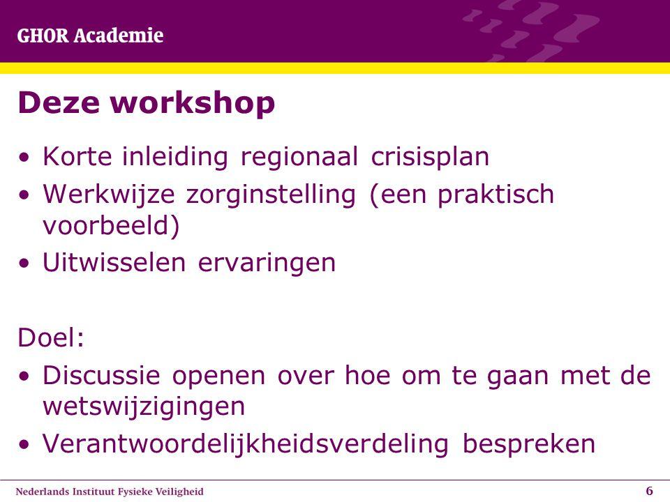 Deze workshop Korte inleiding regionaal crisisplan