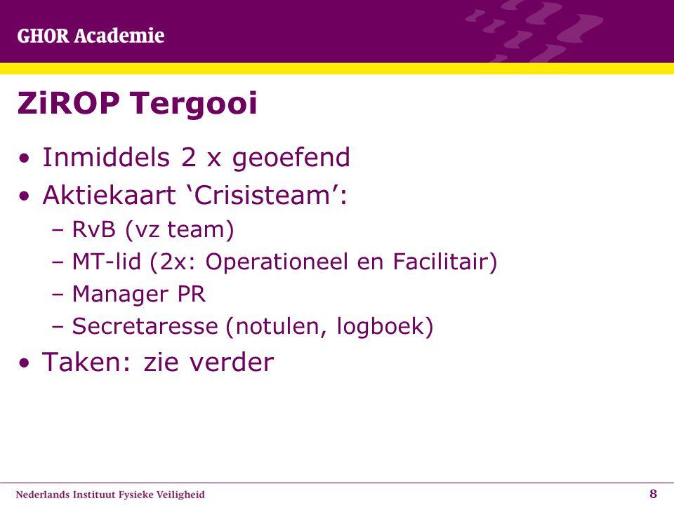 ZiROP Tergooi Inmiddels 2 x geoefend Aktiekaart 'Crisisteam':