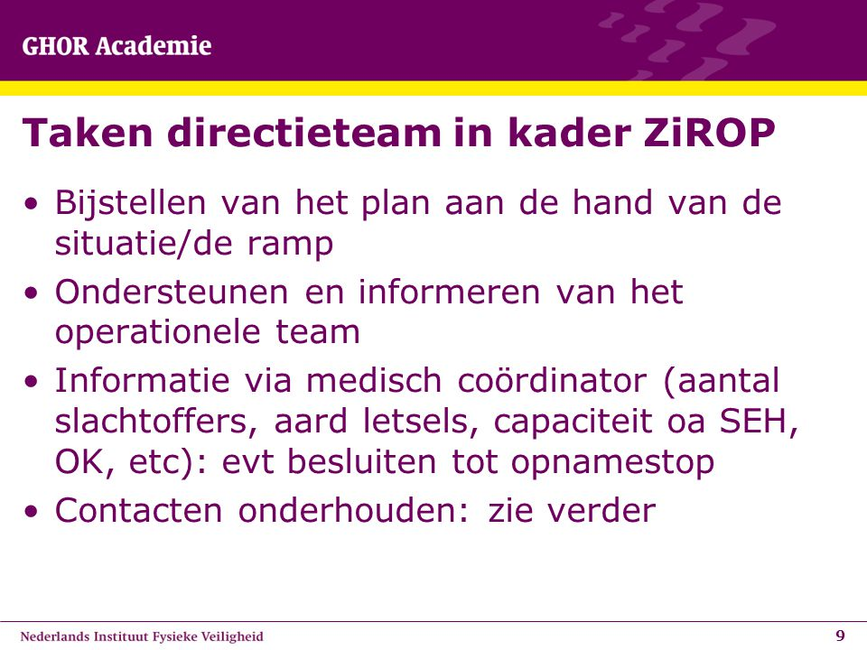 Taken directieteam in kader ZiROP