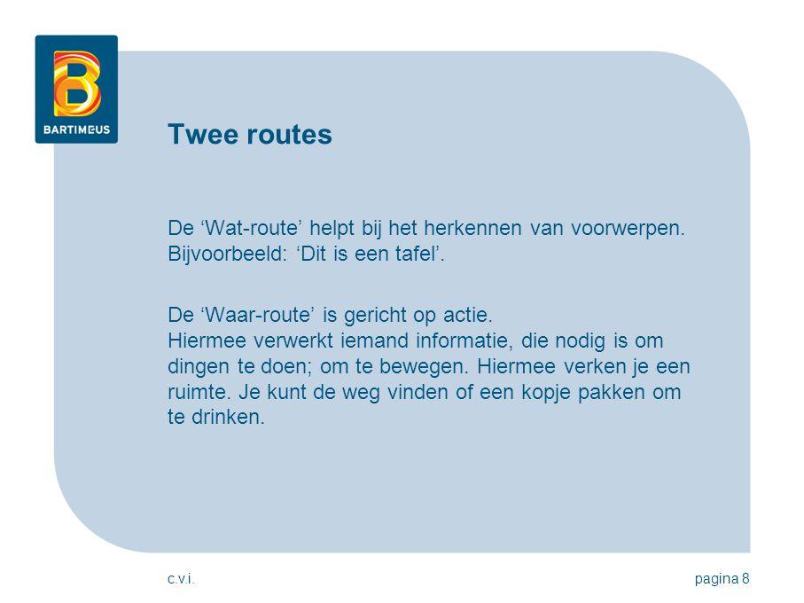 Twee routes De 'Wat-route' helpt bij het herkennen van voorwerpen. Bijvoorbeeld: 'Dit is een tafel'.