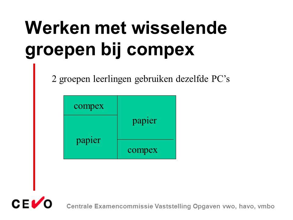 Werken met wisselende groepen bij compex