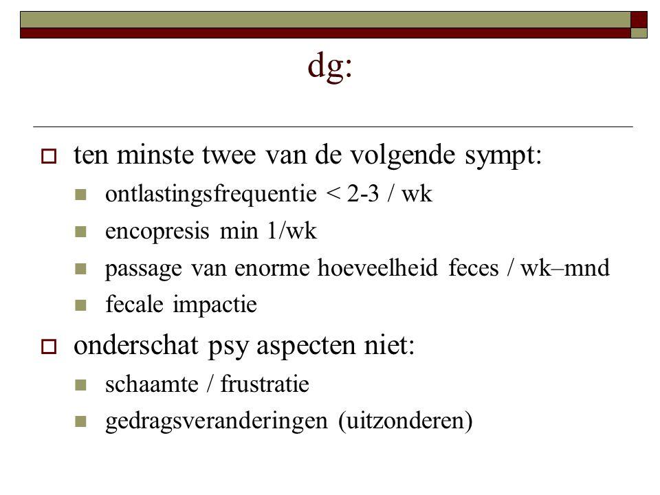 dg: ten minste twee van de volgende sympt: