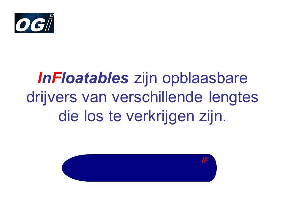 InFloatables zijn opblaasbare drijvers van verschillende lengtes die los te verkrijgen zijn.