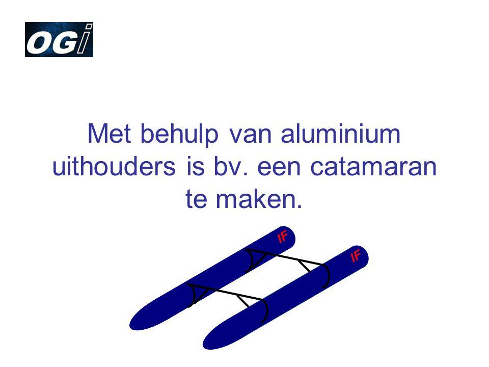 Met behulp van aluminium uithouders is bv. een catamaran te maken.