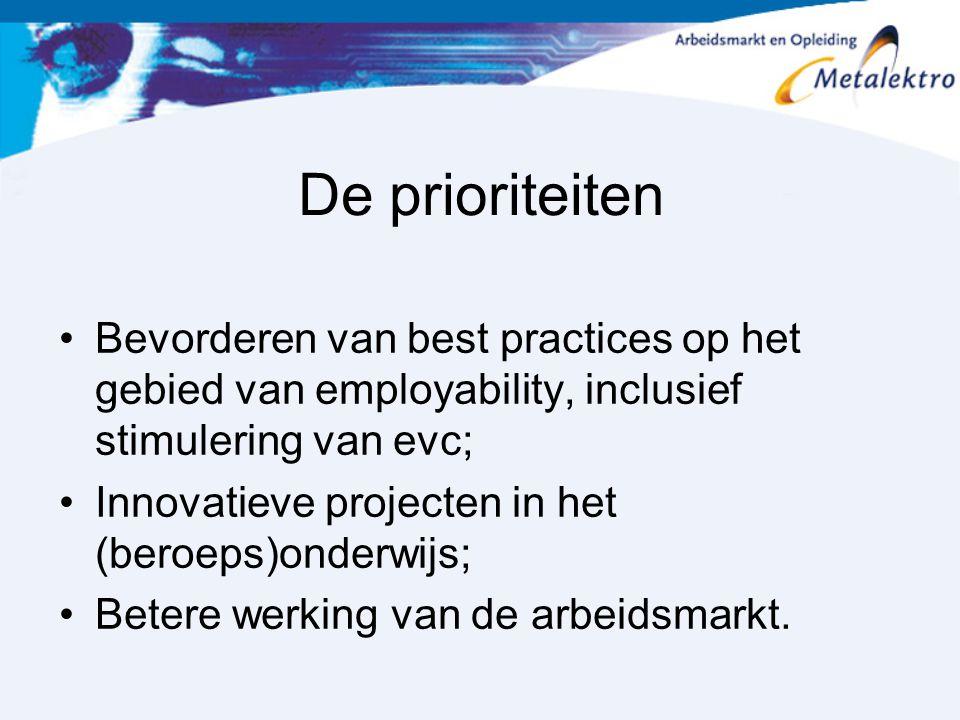 De prioriteiten Bevorderen van best practices op het gebied van employability, inclusief stimulering van evc;