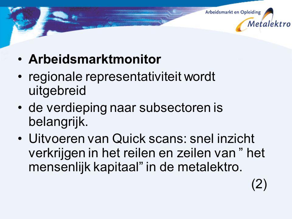 Arbeidsmarktmonitor regionale representativiteit wordt uitgebreid. de verdieping naar subsectoren is belangrijk.