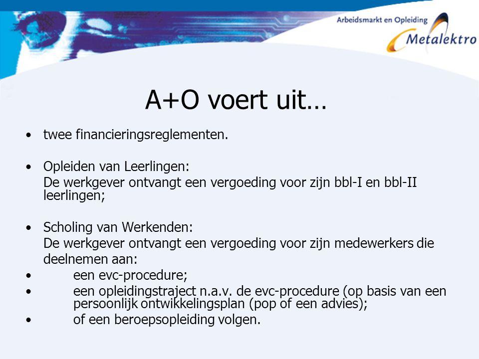 A+O voert uit… twee financieringsreglementen. Opleiden van Leerlingen: