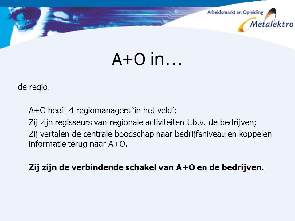 A+O in… de regio. A+O heeft 4 regiomanagers 'in het veld';