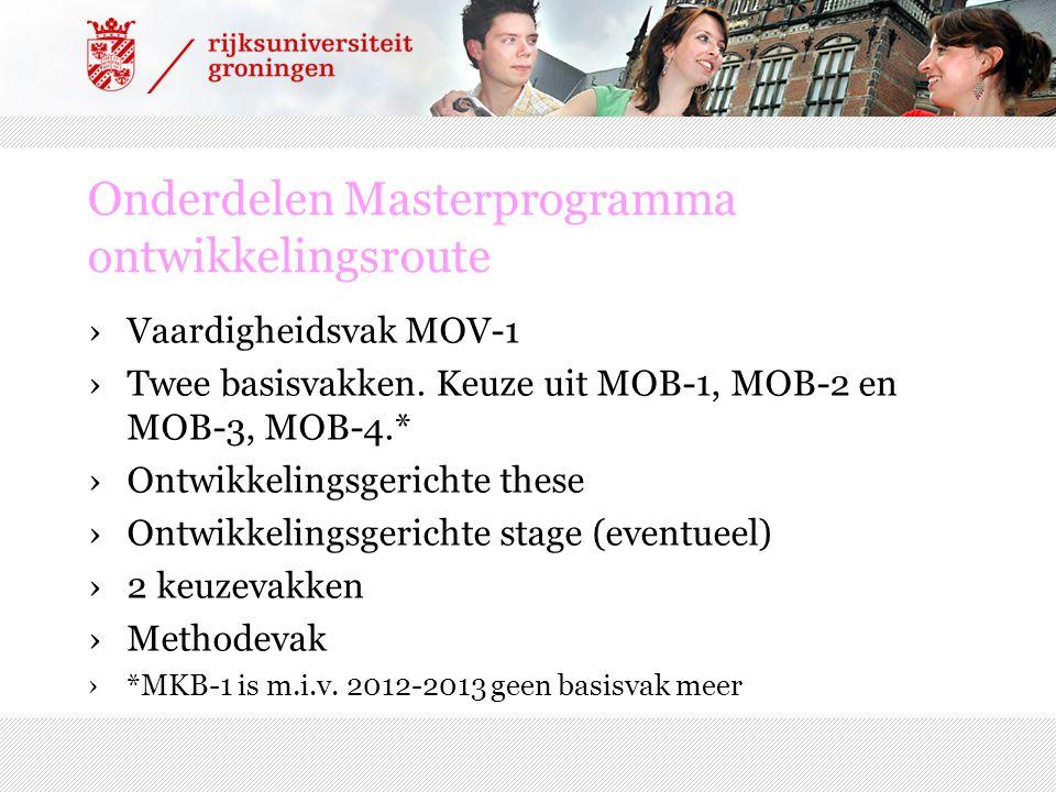 Onderdelen Masterprogramma ontwikkelingsroute