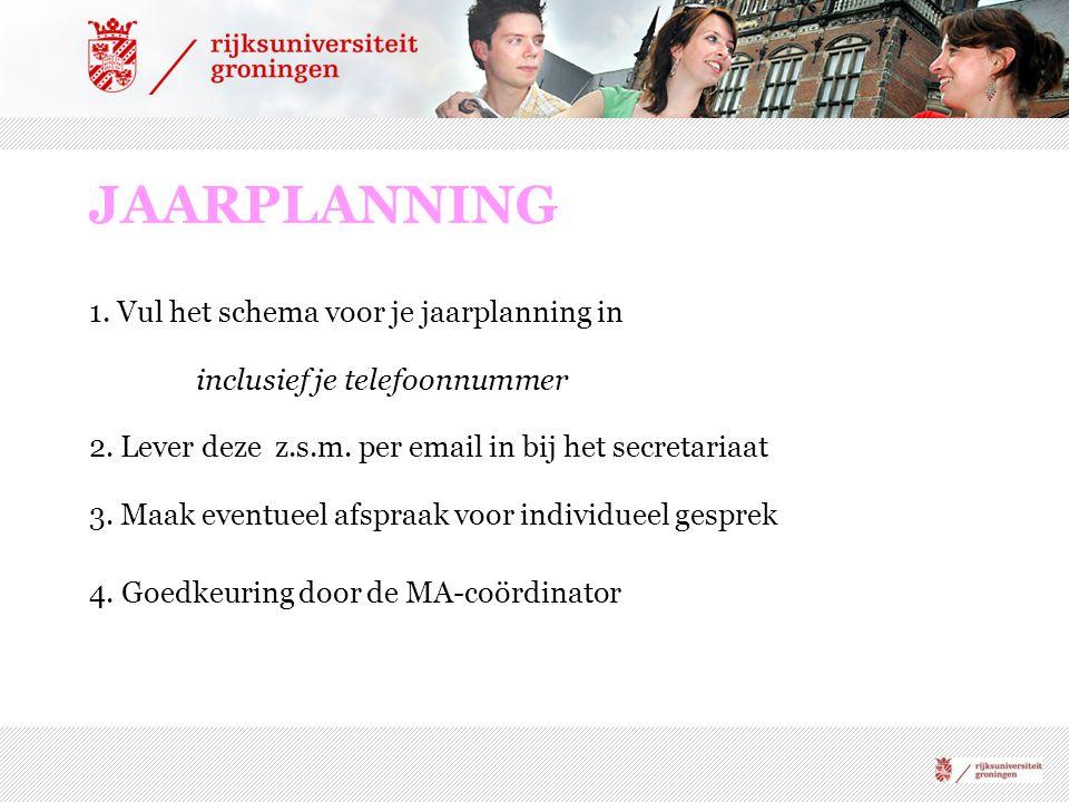 JAARPLANNING 1. Vul het schema voor je jaarplanning in