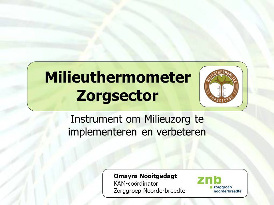 Milieuthermometer Zorgsector