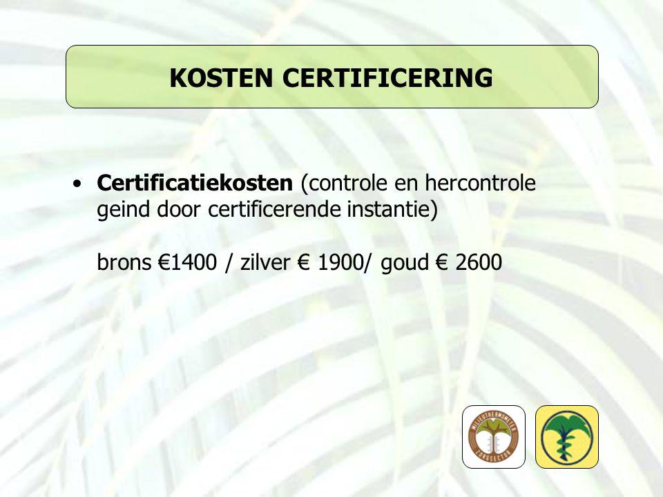 KOSTEN CERTIFICERING Certificatiekosten (controle en hercontrole geind door certificerende instantie)
