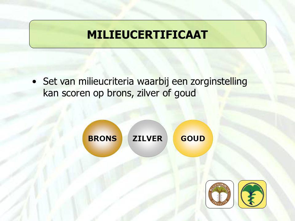 MILIEUCERTIFICAAT Set van milieucriteria waarbij een zorginstelling kan scoren op brons, zilver of goud.