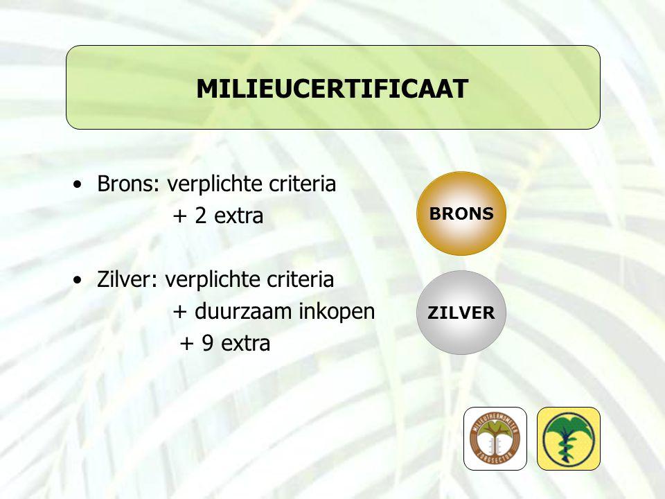MILIEUCERTIFICAAT Brons: verplichte criteria + 2 extra