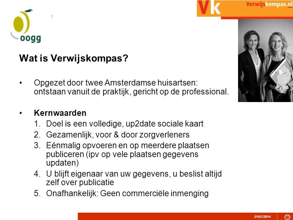 Wat is Verwijskompas Opgezet door twee Amsterdamse huisartsen: ontstaan vanuit de praktijk, gericht op de professional.